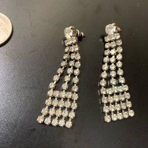 Vintage Dangle Rhinestone Pierced Earrings